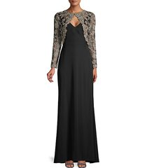 layered lace flare gown