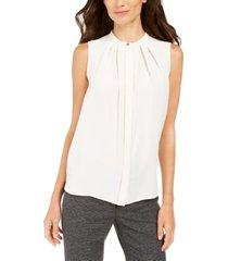 anne klein pleated sleeveless blouse