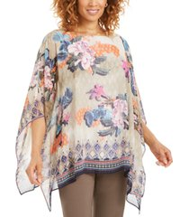 jm collection printed lurex poncho top, created for macy's