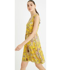 flowing print dress - yellow - xxl