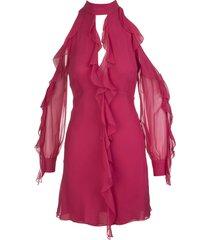 blumarine short dress in cherry red silk with ruffles