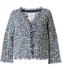 coohem cropped sleeve spring air tweed jacket - blue