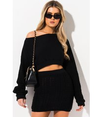 akira and chill cable knit off the shoulder sweater