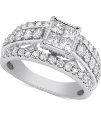 diamond princess cut engagement ring (2 ct. t.w.) in 10k white gold