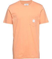 square pocket t-shirt t-shirts short-sleeved orange makia