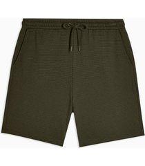 mens khaki ribbed textured jersey shorts