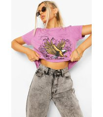 washed eagle slogan t-shirt, mauve