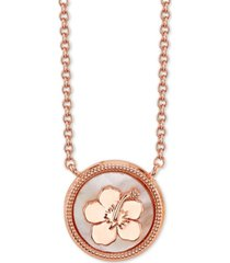 "disney lilo and stitch mother-of-pearl pendant necklace in rose gold-plate, 16"" + 2"" extender in fine silver plate"