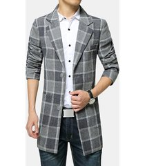 s-4xl winter wool mid long business casual trench plaid sottile fit giacca per uomo