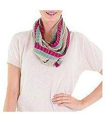 cotton infinity scarf, 'maroon comalapa breeze' (guatemala)
