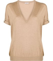 brunello cucinelli beaded epaulette v-neck t-shirt - neutrals