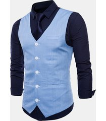 gilet monopetto da uomo casual in puro cotone business casual
