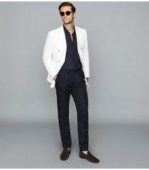 reiss zero - seersucker cotton blazer in white, mens, size 46