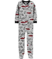 carter's big boy 1-piece cars fleece footie pjs