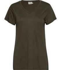anna v-neck t-shirt t-shirts & tops short-sleeved grön kaffe