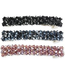 inc silver-tone 3-pc. set sparkle bead hair clips, created for macy's