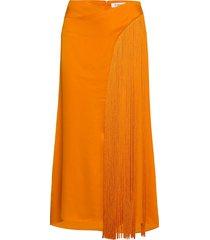 rodebjer deniz fringe knälång kjol orange rodebjer