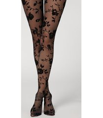 calzedonia floral print tulle tights woman black size s