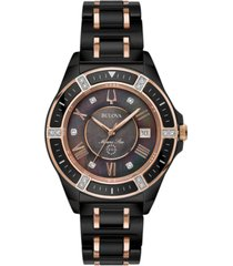 bulova women's diamond-accent marine star two-tone ceramic bracelet watch 37mm