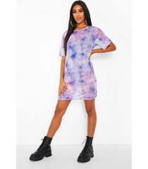 mesh t-shirtjurk met opdruk, paars