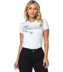 t-shirt daniela cristina gola u 02 602dc10277 branco - branco - feminino - dafiti