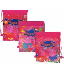 peppa pig - childrens girls waterproof drawstring backpack sack swim gear bag