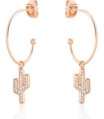 orecchini a cerchio cactus in argento rosato e zirconi per donna