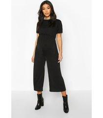 maternity ringer culotte jumpsuit, black