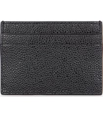 thom browne men's double sided card holder in pebble grain - black