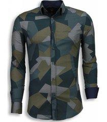 overhemd lange mouw tony backer italiaanse overhemden - slim fit - modern army pattern -