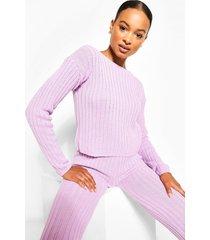 tall knit slash neck & legging lounge set, lilac