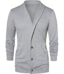 button up shawl collar cardigan