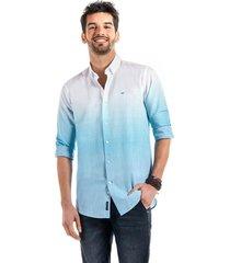 camisa lino franja celeste ferouch