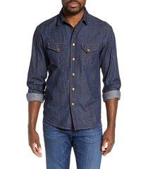 billy reid distressed denim slim fit western shirt, size medium in double dye at nordstrom