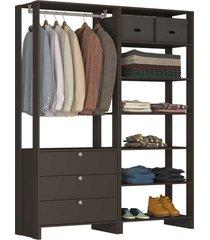 guarda roupa closet 2 peças c/ 1 cabideiro preto