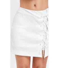 lace up a line asymmetrical skirt