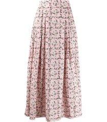 emilia wickstead square rose print skirt - pink
