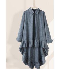 camicetta asimmetrica da donna con colletto rovesciato a maniche lunghe a righe