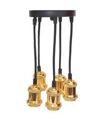 lustre pendente benjamin para 5 lâmpadas avant aço ouro