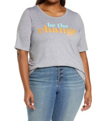 plus size women's bobeau short sleeve graphic tee, size 1x - grey