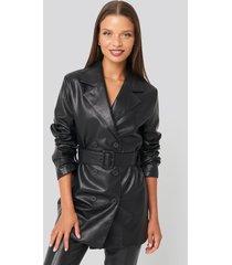 karo kauer x na-kd oversized pu leather jacket - black
