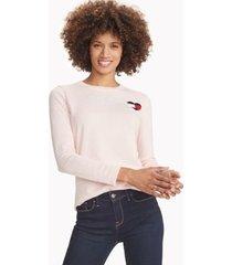 tommy hilfiger women's essential flag heart sweater ballerina pink - xxl