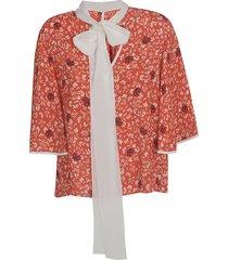 chloé floral print bow tie top