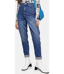 bright indigo blue mom tapered jeans - indigo