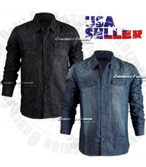 men's button down denim shirts top quilted long sleeves casual fashion wash slim