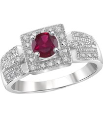 14k white fn 0.2ctw round ruby & simulated diamond solitaire with accents ring