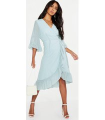 dobby chiffon wide sleeve midi wrap dress, sage