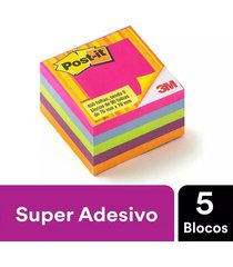 bloco adesivo post it 3m cubo tropical 76x76mm 450 folhas