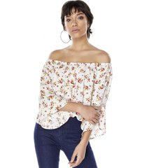 blusa print off shoulder manga 3-4 ecru mujer corona