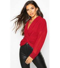 twist front woven blouse, wine